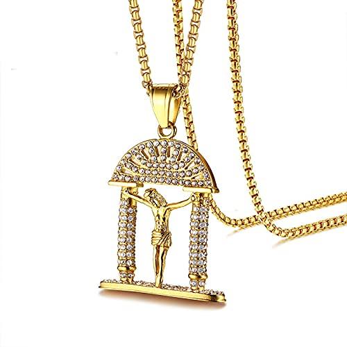 Men's Necklaces Colgante De Hombres Colgante Colgante De Acero Inoxidable Colgante De Oro Circón Incrustado Regalo De Cumpleaños