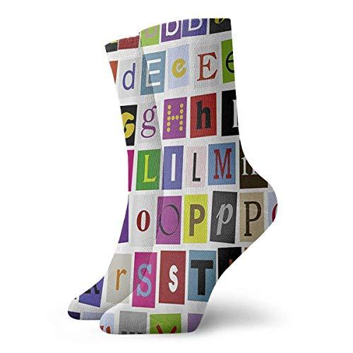 Calcetines unisex Colorflul, diseño de alfabeto clásico, transpirables, para correr al tobillo, senderismo, deportes de fin de semana, calcetines cortos para atletismo, 30 cm