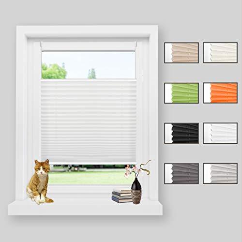 Zarnan Plissee klemmfix ohne Bohren Plisseerollo weiß 90x130cm(BxH) Sonnenschutz Blickdicht Faltrollo Jalousie für Fenster & Tür