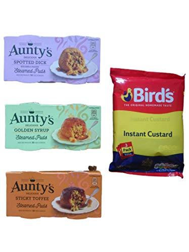Steamed Pudding-Kollektion + 3 Pack Birds Instant Custard Powder Mix 2 x Mikrowelle Golden Sirup Pudding 2 x Mikrowelle klebrige Toffee Schwämme 2 x Dick gedämpfte Puds Vegetarisch