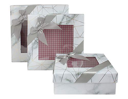 Emartbuy Conjunto de 3 Caja de Regalo de Presentación de Lujo Rígida Cuadrada, Efecto de Mármol Blanco Con Líneas de Origami de Oro, Interior a Cuadros Rosa, Top Transparente y Cinta de Lazo de Satén