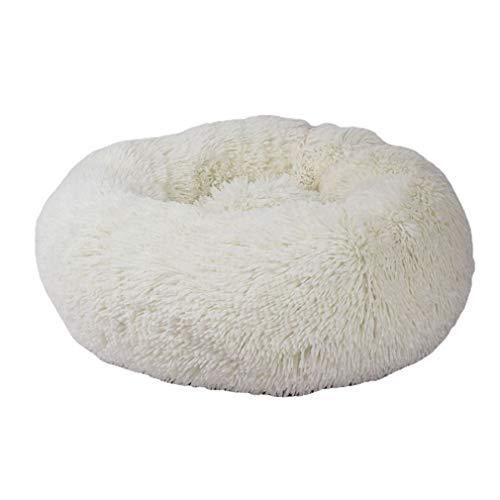 Winter Warm Pet Nest Runde Langes Haar Zwinger Katzenstreu Weich und bequem Warm Pet Nest Nest Zubehör Weiß, 40CM Uniquelove