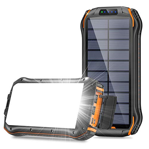 Solar Charger 26800mAh, BLAVOR Portable Solar Power Bank with 18 LEDs Flashlights and 3 USB Output Ports External Backup Pack for iPhone Android,Portable Solar Panel Charger for Camping Outdoor