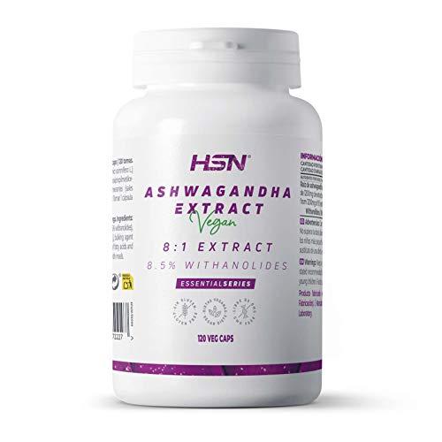 Ashwagandha de HSN | 400mg | Extracto Estandarizado 8:1 | Con 8,5% de Withanolides | Ginseng Indio | Reduce el Estrés | Vegano, Sin Gluten, Sin Lactosa | 120 Cápsulas Vegetales