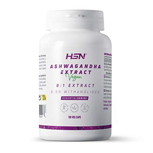 Ashwagandha de HSN | 400mg | Extracto Estandarizado 8:1 | Con 8,5% de Withanolides | Ginseng Indio | Reduce el Estres | Vegano, Sin Gluten, Sin Lactosa, 120 Capsulas Vegetales