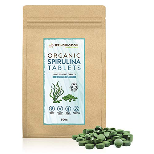 500G Organic SPIRULINA Tablets [1000 x 500mg] Natural Dietary Food Supplement, Premium Quality, Non-GMO Vegan Detox Superfood Rich in Protein, Vitamins, Amino Acids, Iron - Soil Association Certified
