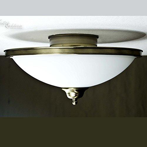 Edle Deckenleuchte in Bronze Jugendstil inkl. 2x 3W E14 LED 230V Deckenlampe aus Metall & Glas für...