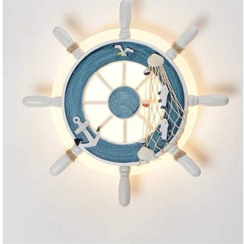LYTZX Applique Blu A Forma di Timone Lampada da Parete per Bambini in Stile Marinaro [Classe di Efficienza Energetica A++] (Color : A, Size : White Light)