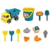 FGASAD Juego de juguetes de playa para niños, arenero, rueda de agua de arena, juego de moldes, juego de herramientas de cubo, juego de juguetes para niños y niñas