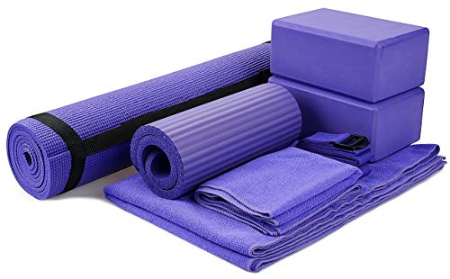 "BalanceFrom GoYoga 7-Piece Set - Include Yoga Mat with Carrying Strap, 2 Yoga Blocks, Yoga Mat Towel, Yoga Hand Towel, Yoga Strap and Yoga Knee Pad (Gray, 1/4""-Thick Mat)"