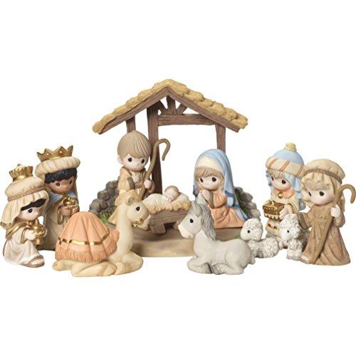 Precious Moments' O Come Let Us Adore Him Nativity Figurine with Creche (Set of 11), Multicolor