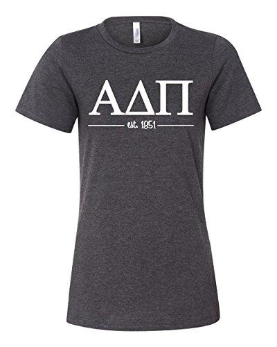 Alpha Delta Pi Women's Relaxed Fit Short Sleeve Jersey Tee (M, Dark Heather)