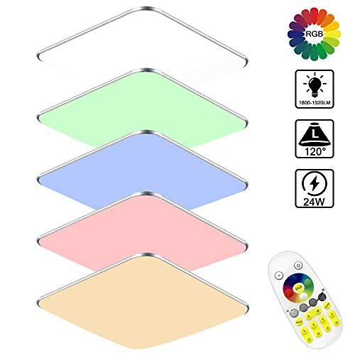 WEIERR Deckenlampe LED Deckenleuchte Ultraslim Moderne Wohnzimmer Lampe aus Acryl Aluminium, für Schlafzimmer Büro Küche Balkon, Silber Grenze (24W RGB)