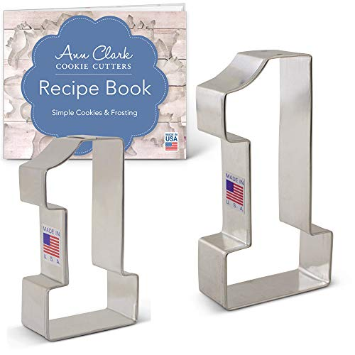Ann Clark Cookie Cutters 2-Piece Number 1 Cookie Cutter Set with Recipe Booklet, 3.4'