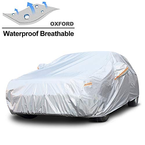 GUNHYI Waterproof Car Cover for Automobile Outdoor, All Weather Snow Sun Rain UV Protective, Fit Sedan (Length 180-191 Inch)