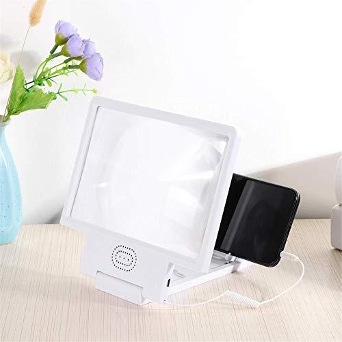 Lupa de pantalla móvil Soporte para teléfono móvil HD 3D Protección ocular Amplificador de pantalla del teléfono con altavoz Audio para películas vídeos y juegos (tamaño único; color: blanco)