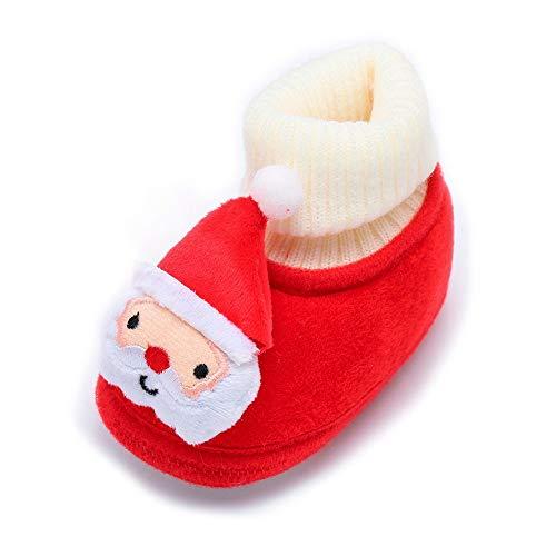 LEXUPE Schön Baby Weihnachtsschuhe, Kleinkind Säugling Neugeboren Weihnachtsmann Weiche Sohle Baby Prewalker Schuhe(Weiß,140)