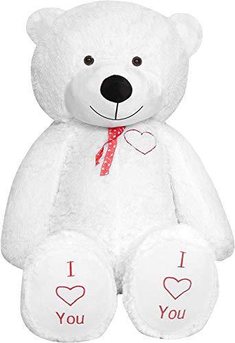 TEDBI Teddybär 180cm | Farbe Weiß | Groß Teddy Bear Plüschbär Stofftier Kuscheltier Plüschtier XXL Teddi Bär mit Stickerei I Love You Ich Liebe Dich Gesticktes Lächeln