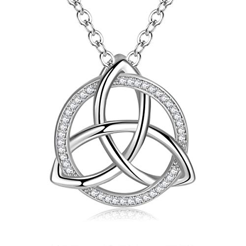 INFUSEU Celtic Necklace for Women Trinity Knot Triquetra Irish Cubic Zirconia Circle Jewelry Gifts 925 Sterling Silver