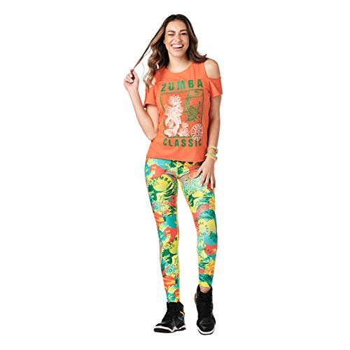 Zumba Athletic - Camiseta de entrenamiento con hombros descubiertos para mujer - Naranja - X-Small