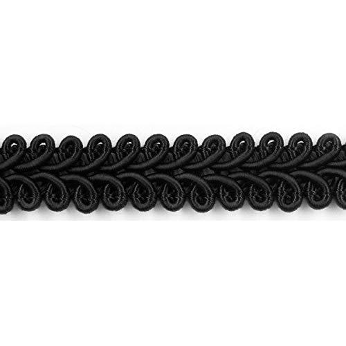 Mosel Avenue Art & Gobelin Studio Posamentenborte 10 mm breit 10 m oder 50 m lang Farbauswahl Spitze Brokat Möbelborte Dekoborte (10 m, Schwarz)