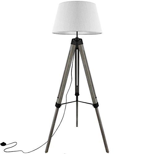 Grundig Tripod Stehlampe mit Textilschirm E27 40W H100-150cm in 3 Farben Stehleuchte Stativlampe Stativleuchte, Farbe:Weiß