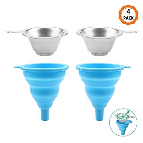 4pcs Embudo con Filtro Incluye 2 Embudo Silicona y 2 Filtro de Acero Inoxidable, Embudos de Cocina Embudo Pequeño para la Cocina, Botella,También Adecuado para Impresoras 3D