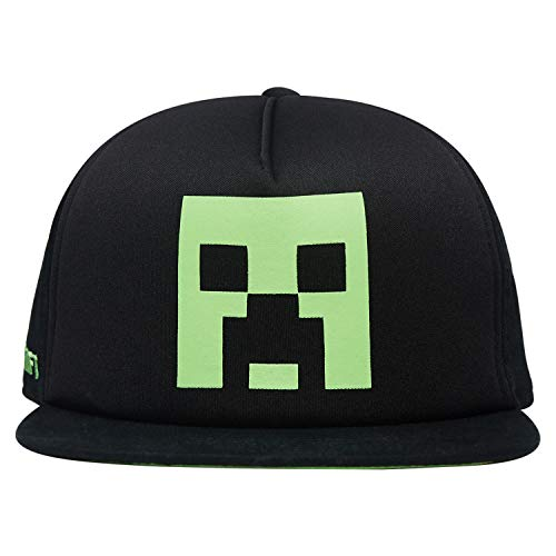 Minecraft Boys Creeper Face Hat - Black and Green Youth Snap Back Hat (Black)