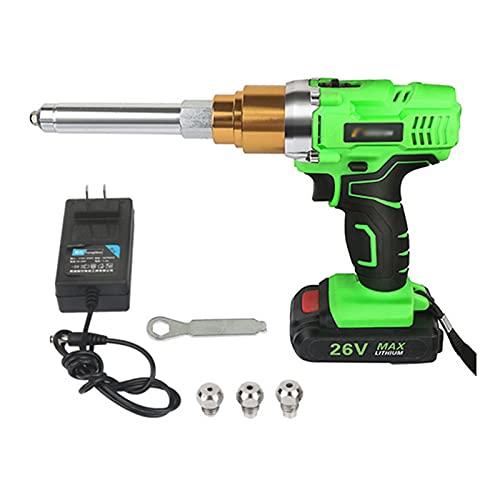 Pistola Remachadora Inalámbrica De 26 V, Kit De Herramientas De Remache Ciego Automático Con Luz LED Y Cargador Para Remaches De 3/32', 1/8', 5/32', 3/16',1 battery