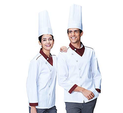 Kookjack wit korte mouwen katoen keuken hotel kookkleding uniform beroepskleding met knopen ademend waterdicht geen verbleken XXXXL wit