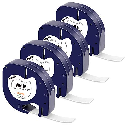 Colorty Compatible Label Tape Replacement for DYMO LetraTag Refills 91331 12mm x 4m 1/2 x 13 Black on White Plastic Label Tape for DYMO Letra Tag 100H Plus 100H 100T Plus 100T QX50 Label Maker, 4-Pack