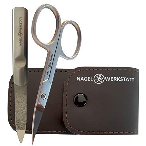 Profi Nagelschere Set - extra scharfe Hautschere aus rostfreiem Edelstahl - inklusive Feile in einem edelen Etui - auch für Linkshänder geeignet