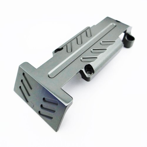 Atomik RC Alloy Rear Skid Plate, Grey fits The Traxxas 1/10 E-Revo and Other Traxxas Models - Replaces Traxxas Part 5337