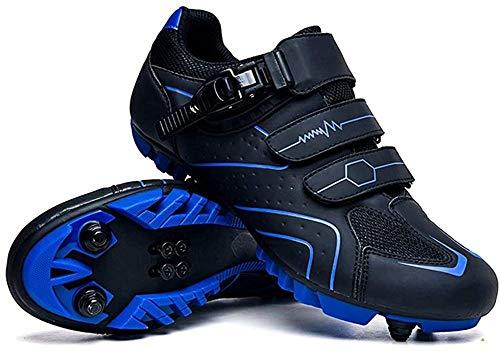KUXUAN Zapatillas de Ciclismo Zapatillas de Ciclismo de Montaña MTB para Hombre con Candados,Calzado Deportivo de Invierno para Hombre y Mujer/Suelas-Nailon,Blue-44EU