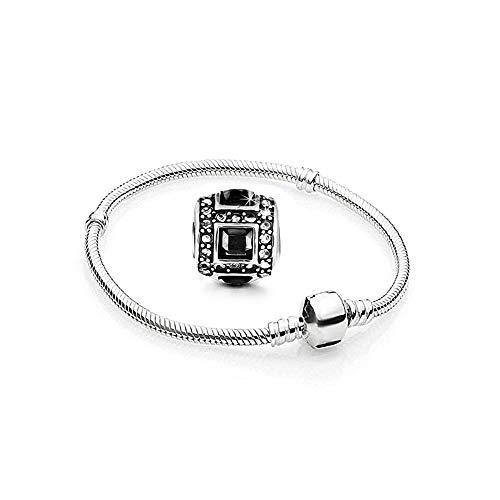 Charms Armband und 3 Anhänger Starter Set Angebot Zirkonia Murano glas bettel Pandora style kompatibel Schmuck Silber 925 17cm A