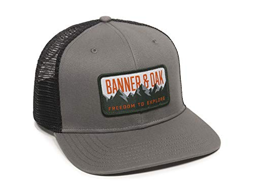 Bighorn Scout Patch Trucker Hat - Adjustable Baseball Cap w/Plastic Snapback Closure Charcoal