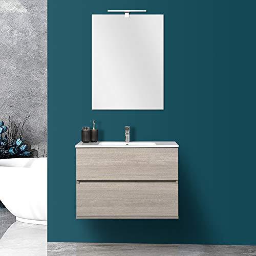Mobile Bagno 80 cm sospeso con 2 cassettoni Rovere Chiaro Completo di lavabo+Specchio+Ceramica Bianco Lucido