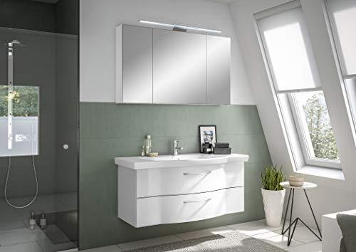 Pelipal Cassca Sprint Bad Möbel/Graphit Struktur quer NB, Spiegelschrank + Waschtisch + Unterschrank