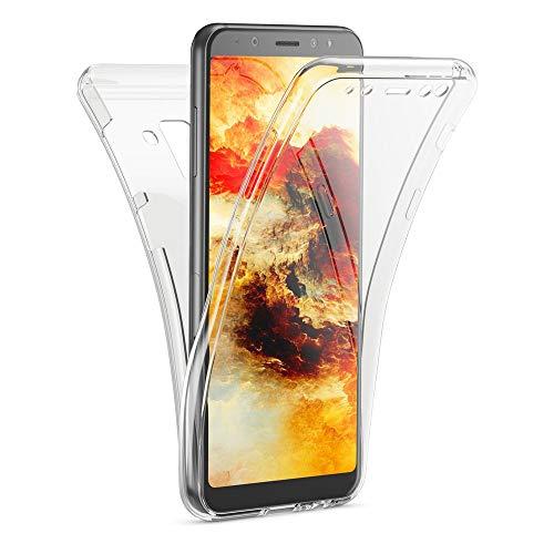 Kaliroo Handyhülle 360 Grad kompatibel mit Samsung Galaxy A8 2018, Dünne Silikon R&um Hülle Full-Body Cover, Slim Schutzhülle Handy-Tasche Phone Hülle, Vorne und Hinten Komplett-Schutz - Transparent