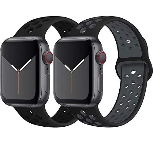 INZAKI Kompatibel mit Apple Watch Armband 42mm 44mm,weich atmungsaktives Silikon Sport Ersatzband für Armband für iWatch Serie 5/4/3/2/1,Nike+,Sport,wasserdicht,M/L,BlackBlack/BlackGray