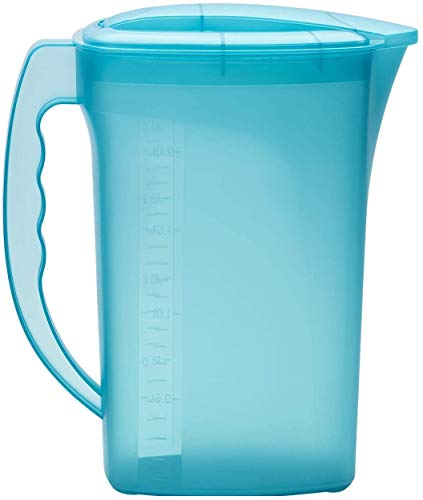 Design 1x Wasserkrug / Karaffe / Kühlschrankkrug / Behälter in der Farbe Blau geeignet für jegliche Getränke etc. Fassungsvermögen 2 Liter mit Deckel / Henkel und Füllstandsanzeige