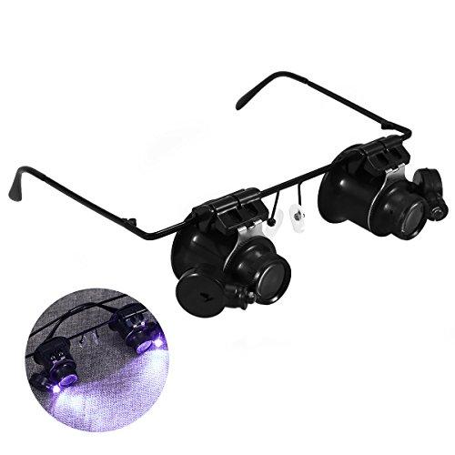 UEETEK 20X reloj doble ojo reparación lupa gafas lupa lente reloj joyero reparación con luz LED