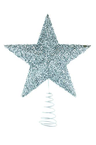 Clever Creations Silver Star Christmas Tree Topper - Festive Christmas Decor - Sparkling Shatter Resistant Plastic - 7 inch Tall - Perfect for Any Size Christmas Tree