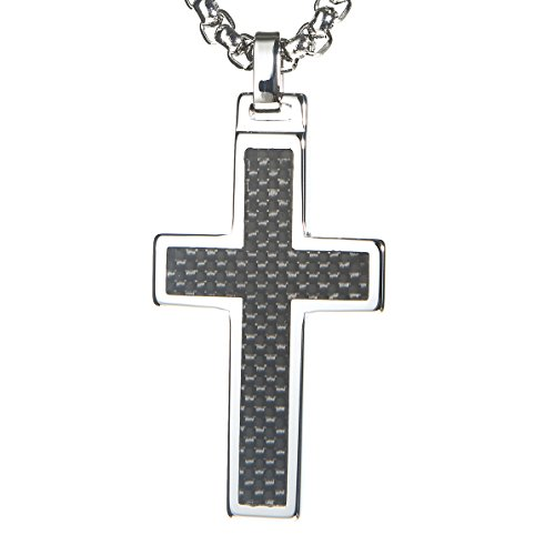Unique GESTALT Tungsten Cross Pendant .4mm Surgical Stainless Steel Box Chain. Black Carbon Fiber Inlay.