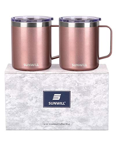 SUNWILL Coffee Mug with Handle, 14oz Insulated Stainless Steel Coffee Travel Mug Set, Double Wall Vacuum Reusable Coffee Cup with Lid, Rose Gold 2 Pack