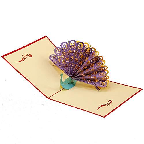 Creative Paon papier 3d Pop Up Carte de voeux d'anniversaire du Festival de cadeau de Noël Amesii violet