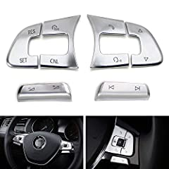 Compatible with Volkswagen 2016-up Passat, Golf SportWagen, Alltrack, 2018-up Tiguan, Altas, 2019-up Arteon (will NOT fit the regular Golf or GTI) Includes a set of (6) steering wheel control button decoration covers with a premium satin silver finis...