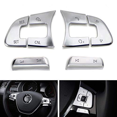 iJDMTOY Premium Satin Silver 6pc Steering Wheel Control/Button Decoration Trims Compatible With Volkswagen 2016-up Passat, Golf SportWagen, Alltrack, 2018-up Tiguan, Altas, 2019-up Arteon