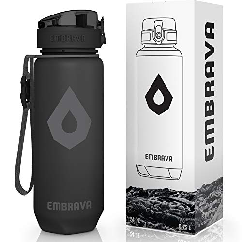 Embrava Water Bottle with Time Markers - 24 Ounce - For Sports, Gym & Hiking - BPA and BPS-Free - One-Click Opening - Leakproof and Secure
