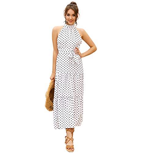 Hanks Shop. Kleid ärmellos Hanging Bedrucktes Chiffon-Kleid (Color : White, Size : S)